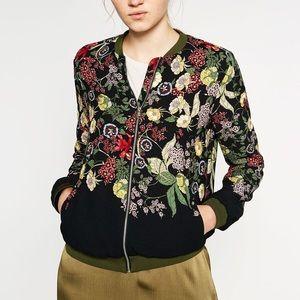 🌹 ZARA Floral Bomber Jacket 🌹